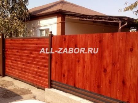 Забор из профнастила на ленточном фундаменте с покрытием Log